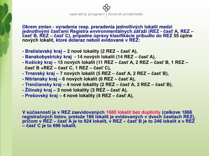 Okrem zmien - vyradenia resp. preradenia jednotlivch lokalt medzi jednotlivmi asami Registra environmentlnych za (REZ - as A, REZ  as B, REZ  as C), prpadne pravy klasifikcie pribudlo do REZ