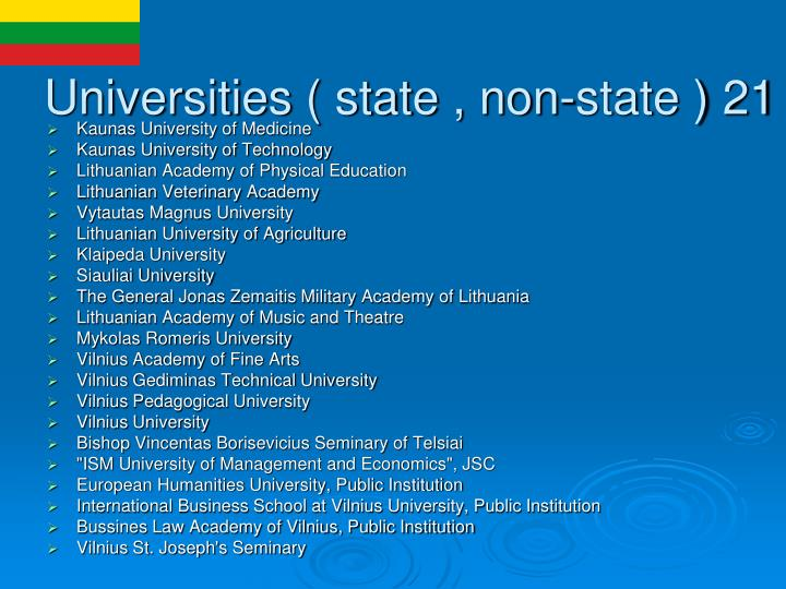 Universities ( state , non-state ) 21