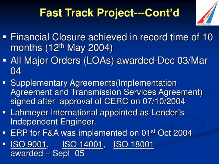 Fast Track Project---Cont'd