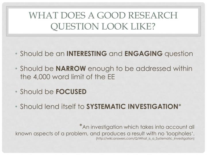 What does a Good research question Look like?