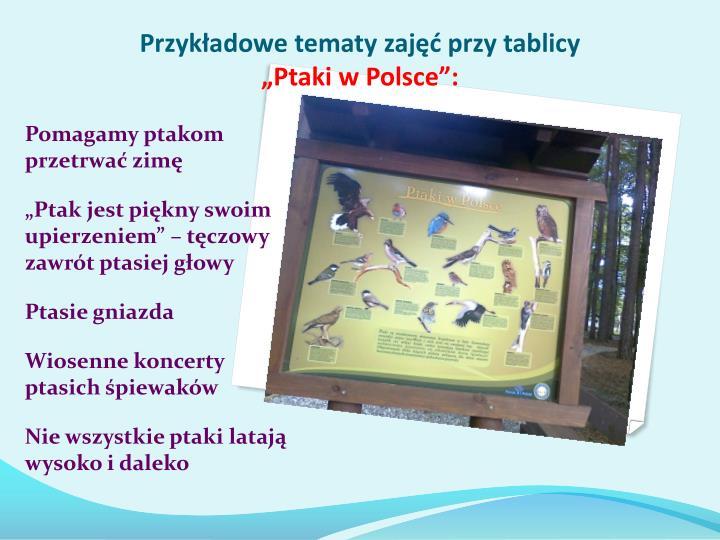 Przykładowe tematy zajęć przy tablicy