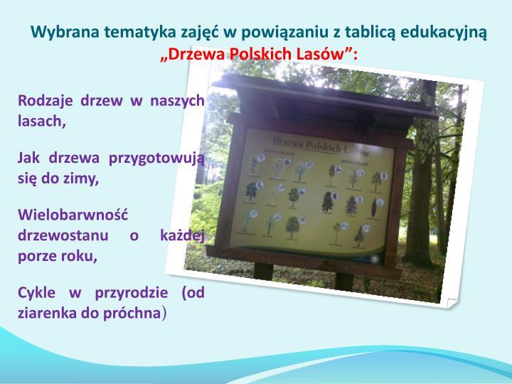 Wybrana tematyka zajęć w powiązaniu z tablicą edukacyjną