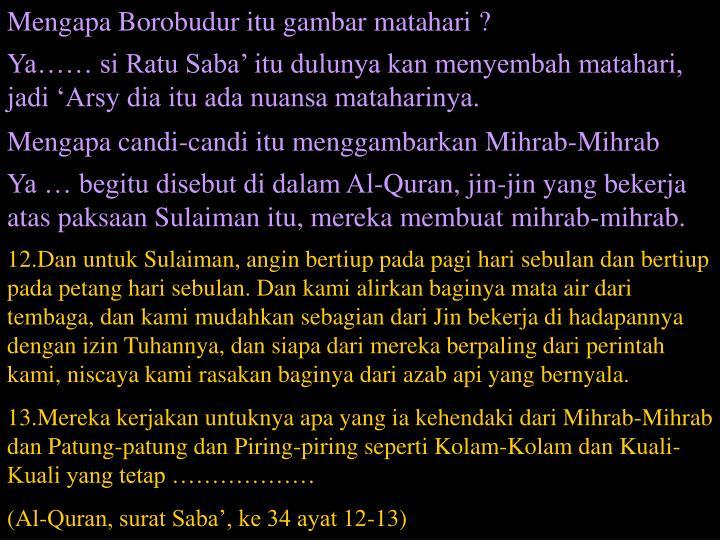 Mengapa Borobudur itu gambar matahari ?