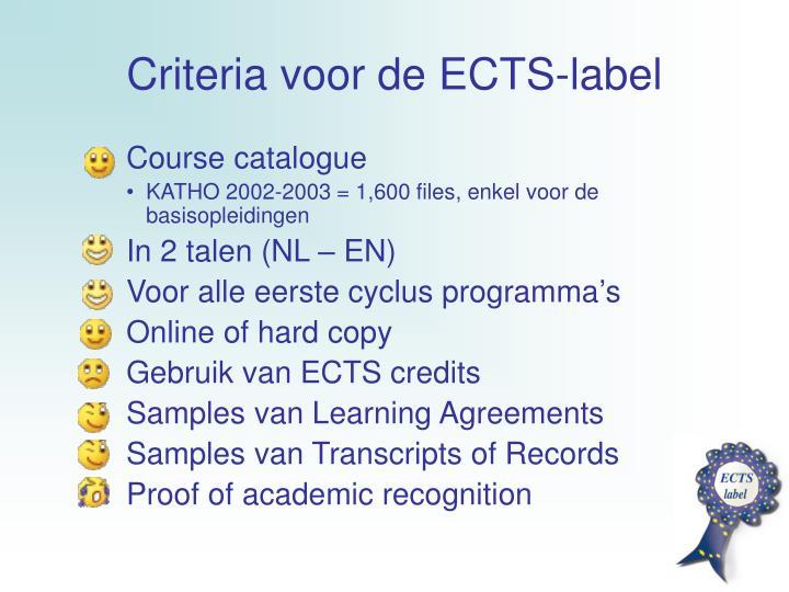 Criteria voor de ECTS-label