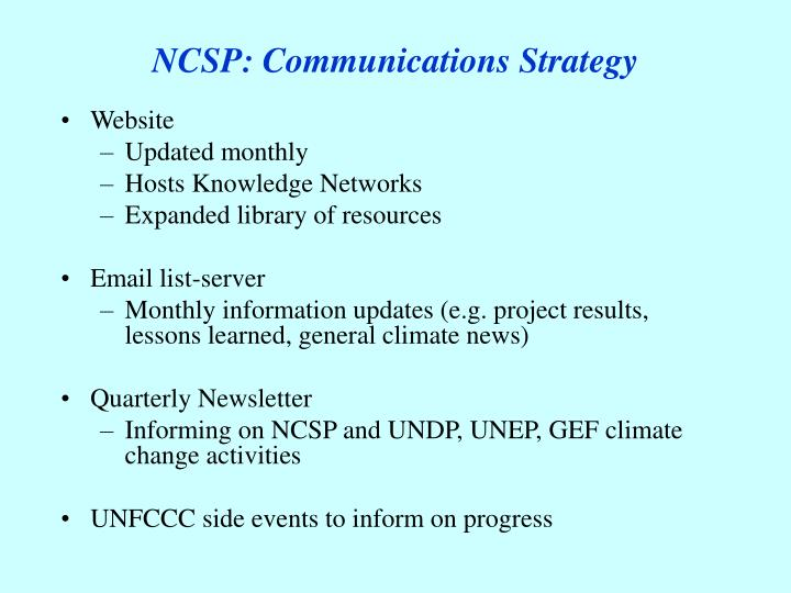 NCSP: Communications Strategy