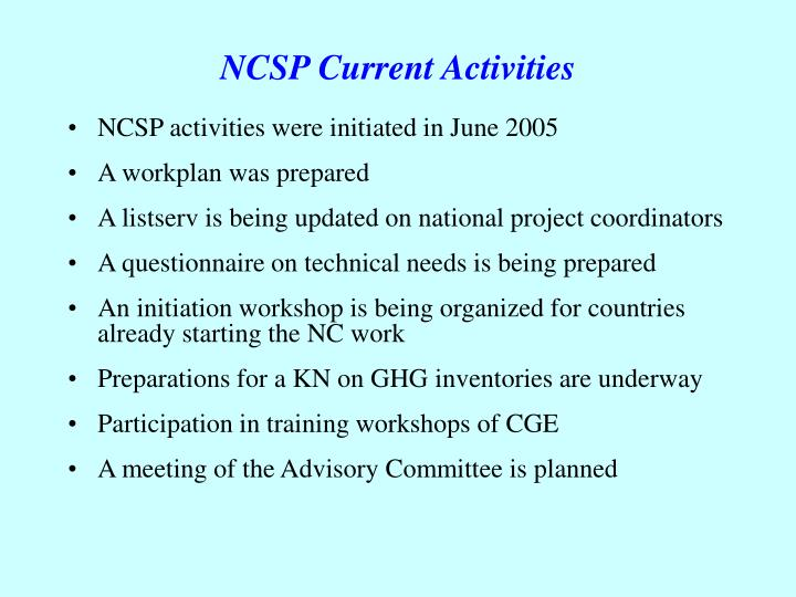NCSP Current Activities