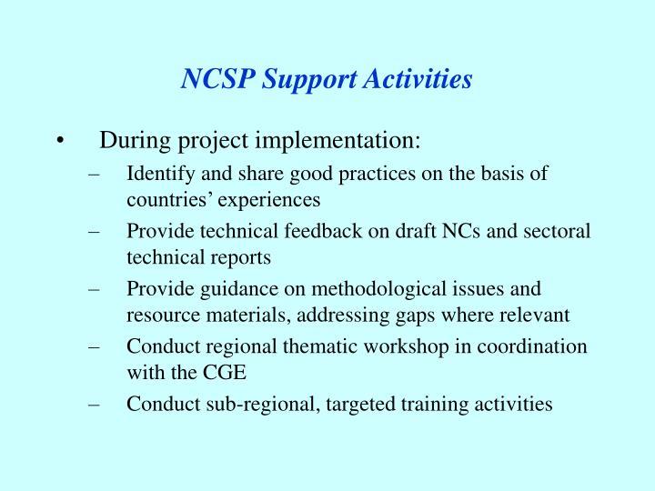 NCSP Support Activities