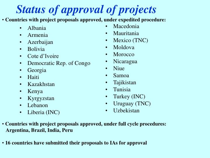 Status of approval of projects