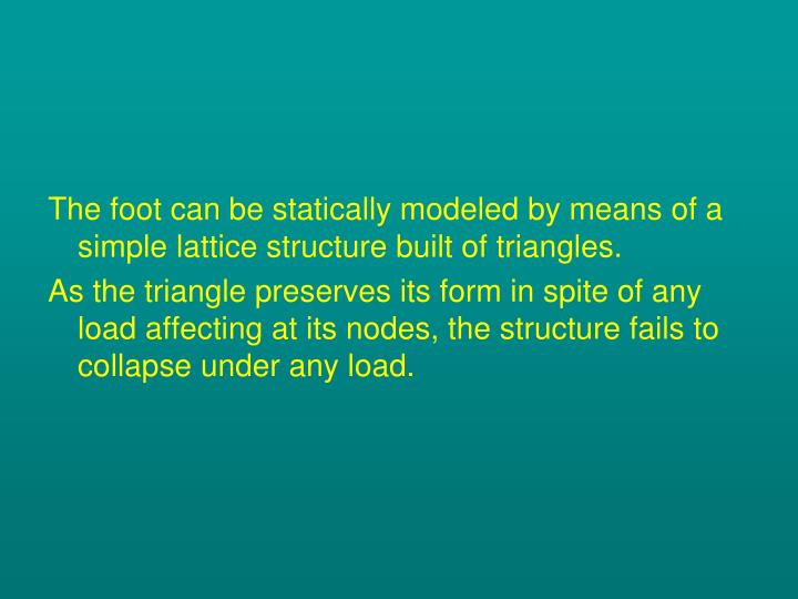 The foot can be statically modeled by means of a simple lattice structure built of triangles.