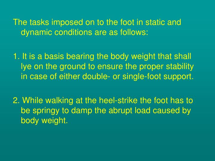 The tasks imposed on to the foot in static and dynamic conditions are as follows