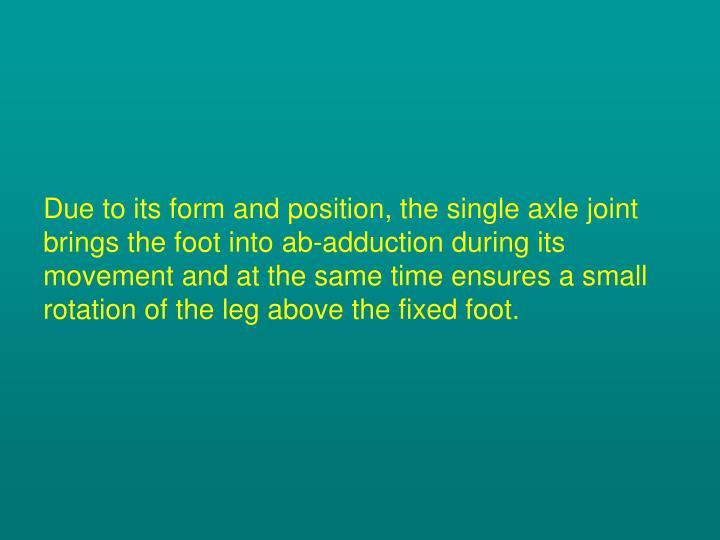 Due to its form and position, the single axle joint brings the foot into