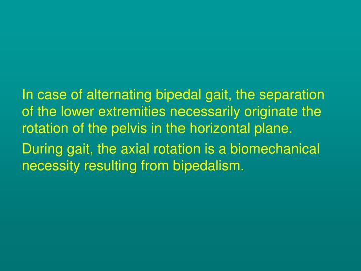 In case of alternating bipedal gait, the separation of the lower extremities necessarily originate the rotation of the pelvis in the horizontal plane.