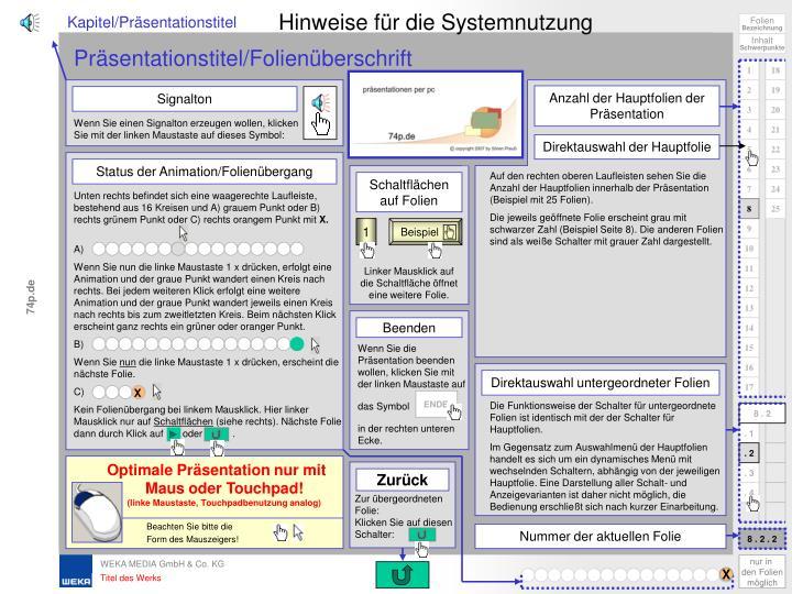 Hinweise für die Systemnutzung