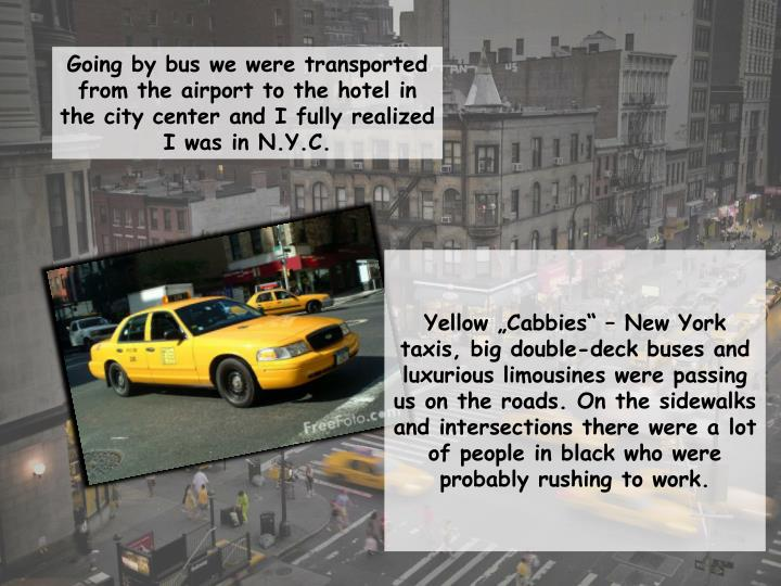 "Yellow ""Cabbies"" – New York taxis, big double-deck buses and luxurious limousines were passing us on the roads. On the sidewalks and intersections ther"