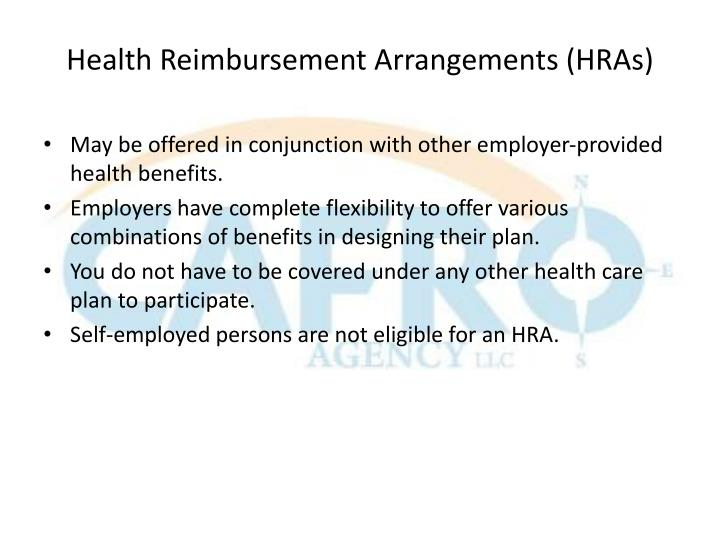Health Reimbursement Arrangements (HRAs)