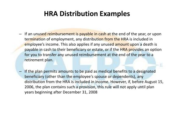 HRA Distribution Examples