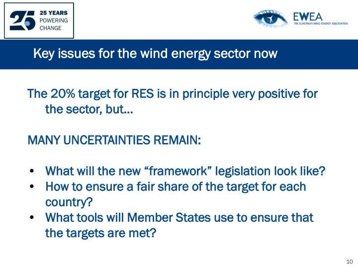 Key issues for the wind energy sector now