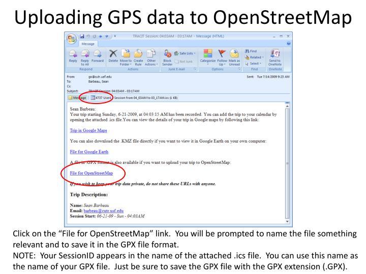Uploading GPS data to OpenStreetMap