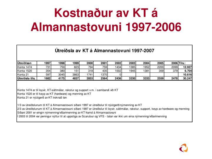 Kostnaður av KT á Almannastovuni 1997-2006