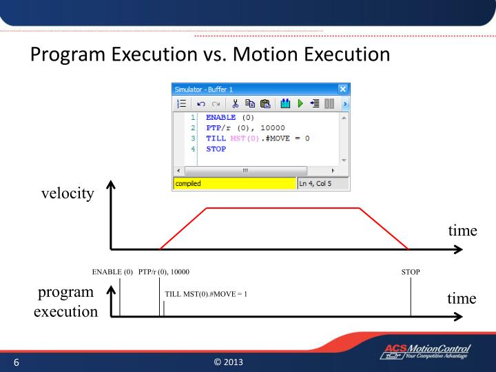 Program Execution vs. Motion Execution