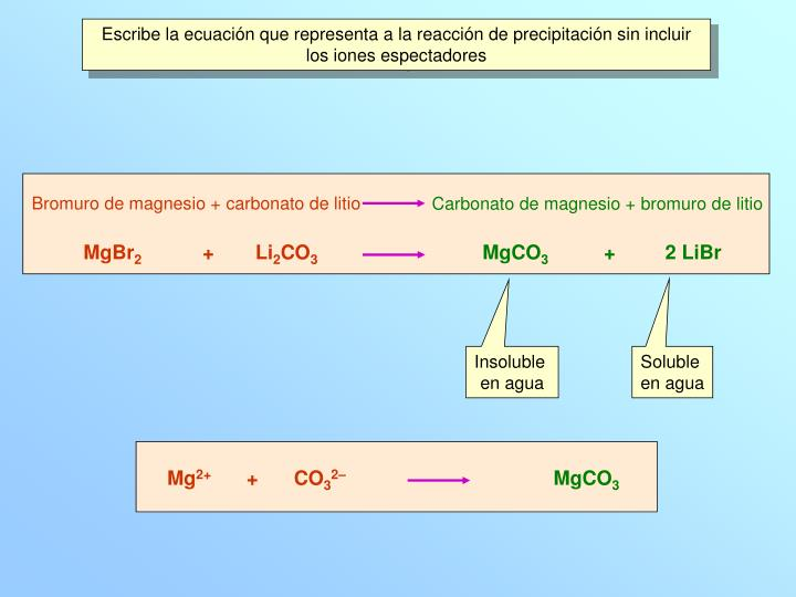 Escribe la ecuación que representa a la reacción de precipitación sin incluir los iones espectadores