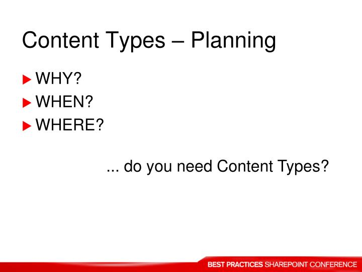Content Types – Planning