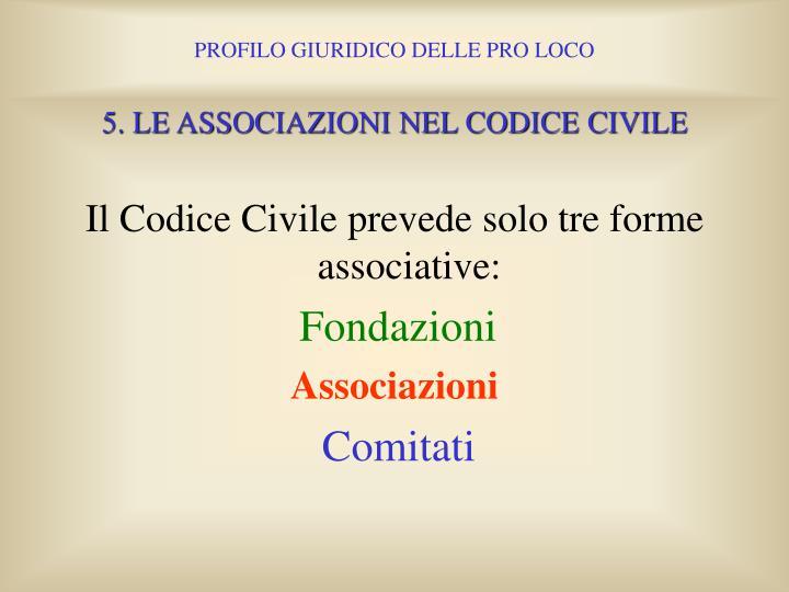 5. LE ASSOCIAZIONI NEL CODICE CIVILE