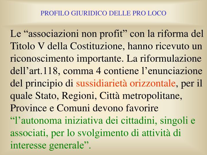 """Le """"associazioni non profit"""" con la riforma del Titolo V della Costituzione, hanno ricevuto un riconoscimento importante. La riformulazione dell'art.118, comma 4 contiene l'enunciazione del principio di"""