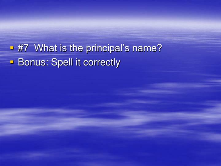 #7  What is the principal's name?