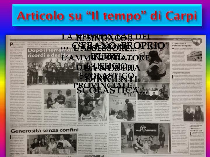 """Articolo su """"Il tempo"""" di Carpi"""