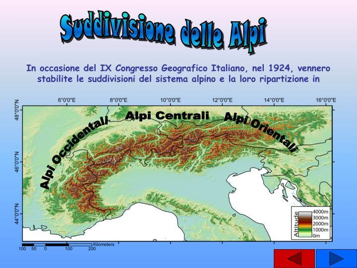 Suddivisione delle Alpi