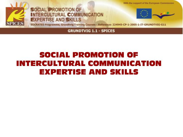 SOCIAL PROMOTION OF INTERCULTURAL COMMUNICATION EXPERTISE AND SKILLS
