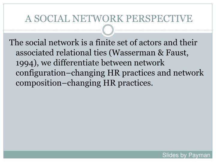 A SOCIAL NETWORK PERSPECTIVE