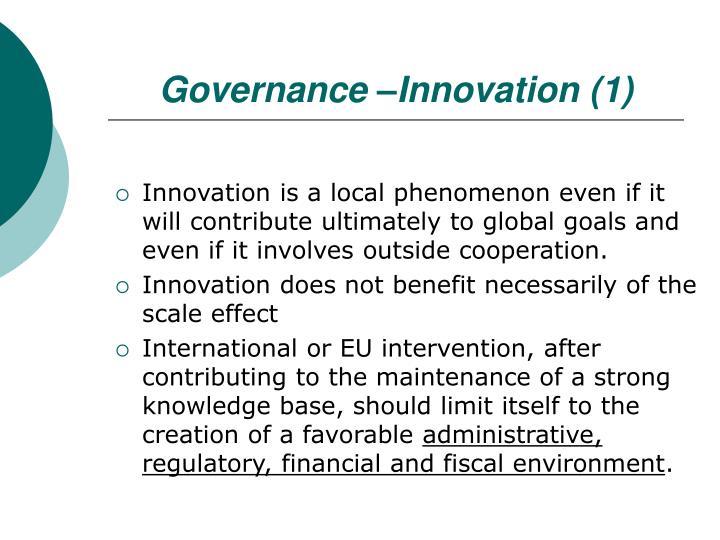 Governance –Innovation (1)
