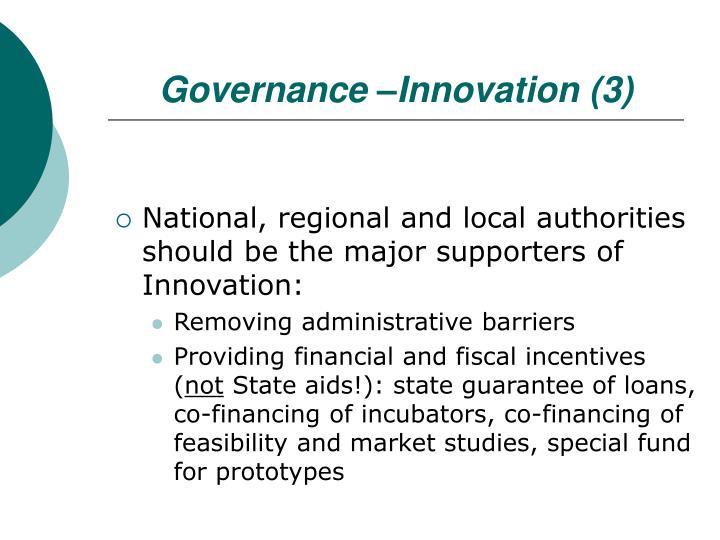 Governance –Innovation (3)