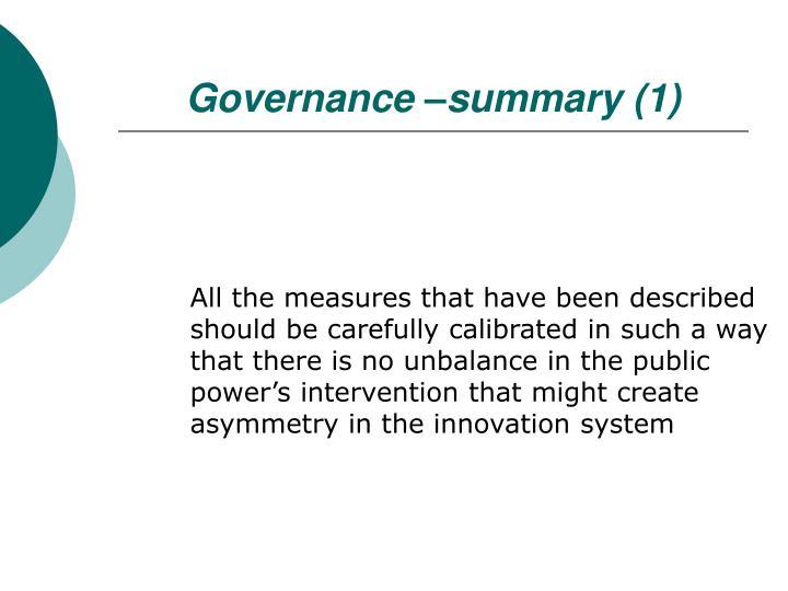 Governance –summary (1)