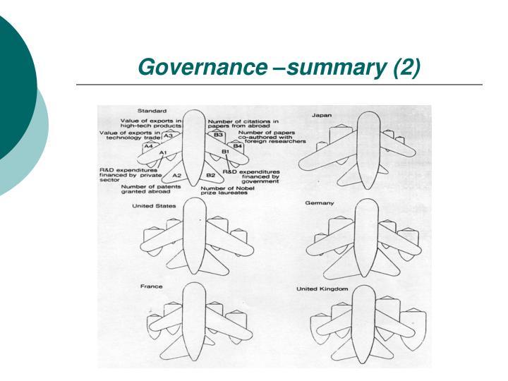 Governance –summary (2)