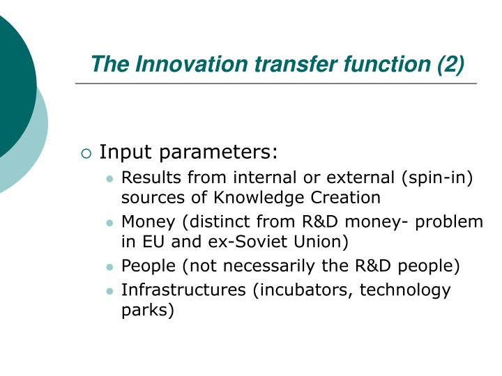 The Innovation transfer function (2)