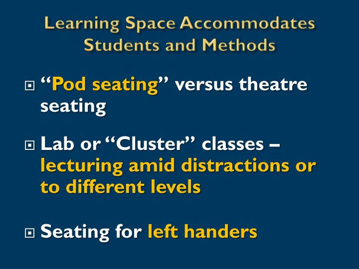 Learning Space Accommodates Students and Methods