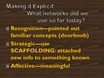 making it explicit what networks did we use so far today