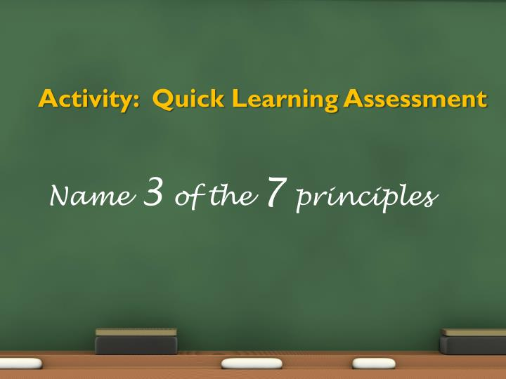 Activity:  Quick Learning Assessment