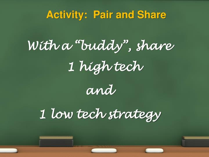 Activity:  Pair and Share