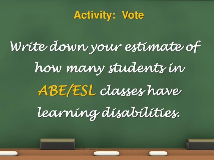 Activity:  Vote