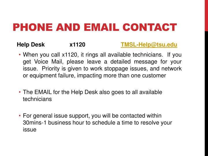 Phone and Email Contact
