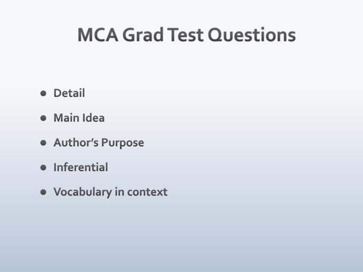 MCA Grad Test Questions