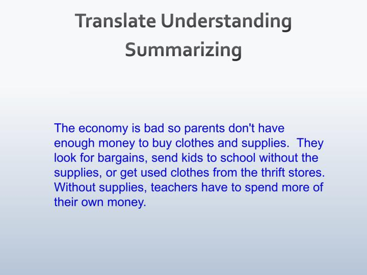 Translate Understanding