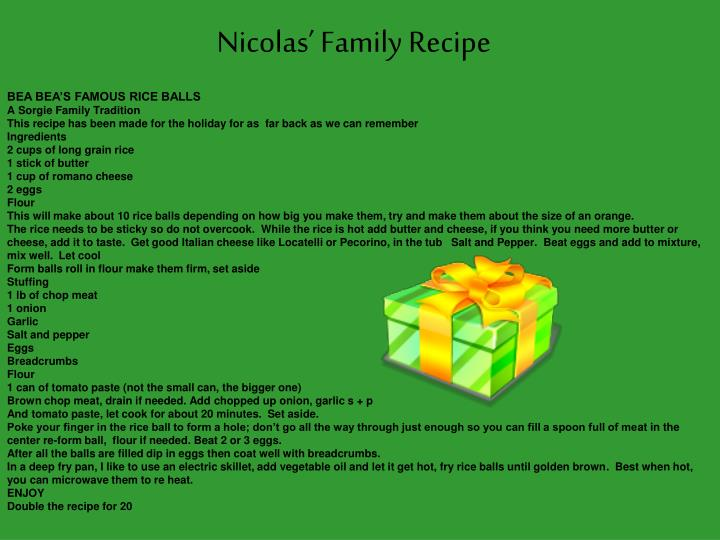 Nicolas' Family Recipe