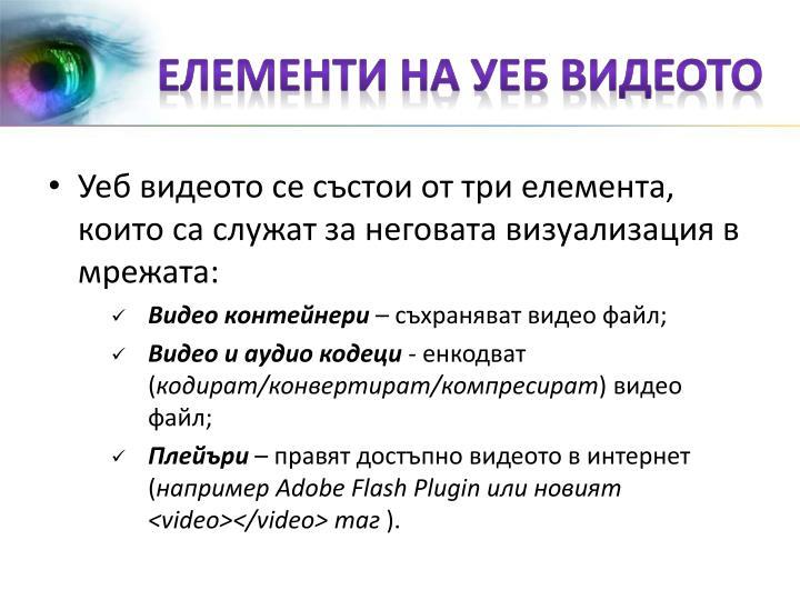 Елементи на уеб видеото