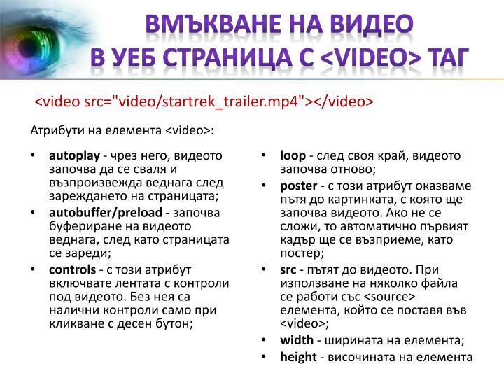 вмъкване на видео