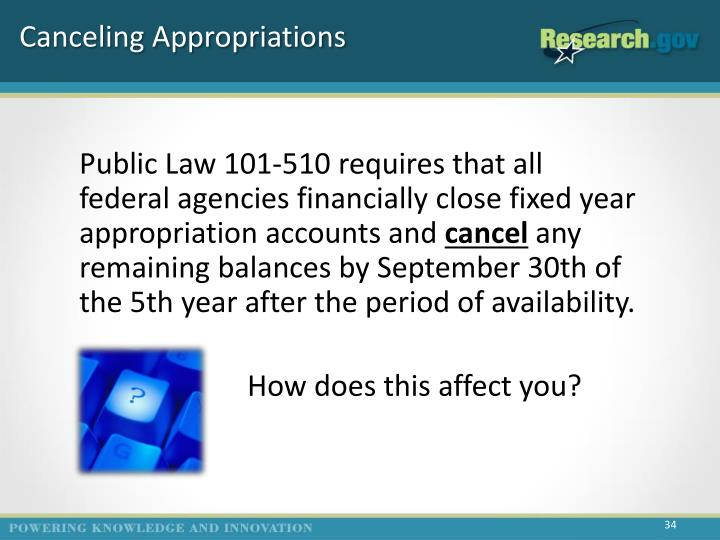 Canceling Appropriations